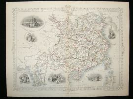 China & Burma: 1852 Antique Map. Decorative. Tallis Rapkin